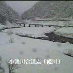 姫川と小滝川の合流点