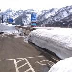 国道沿いの残雪 根知付近