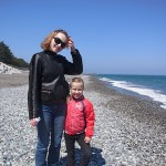 ロシアからの母子 宮﨑海岸東