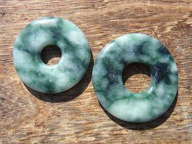 円形大珠 圧砕緑翡翠